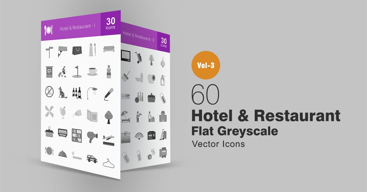 Download 60 Hotel & Restaurant Greyscale Icons by Unknow