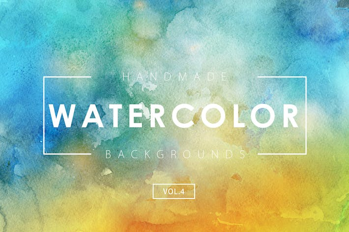 Cover Image For Handmade Watercolor Backgrounds Vol.4