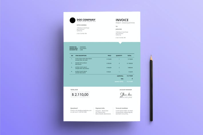 Thumbnail for Invoice Business with Center Teal Backgound