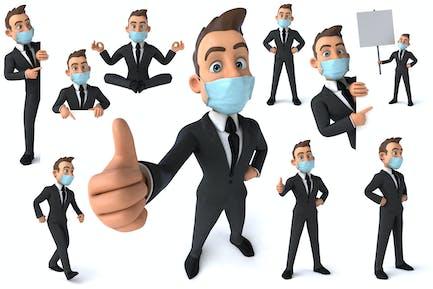 10 Business men with masks !