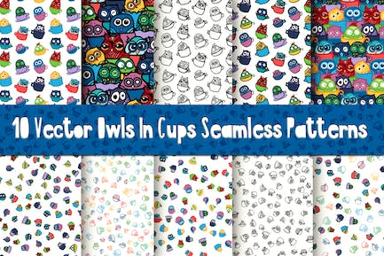 Nice Owls In Cups Patterns
