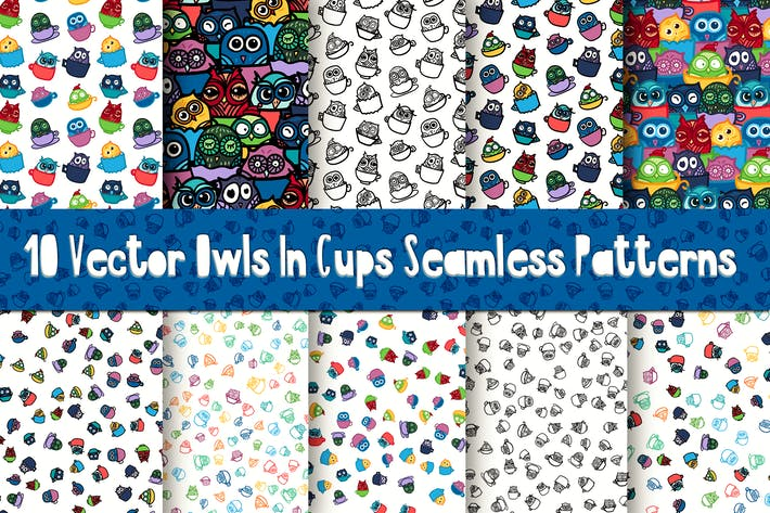 Thumbnail for Schöne Eulen in Tassen Muster