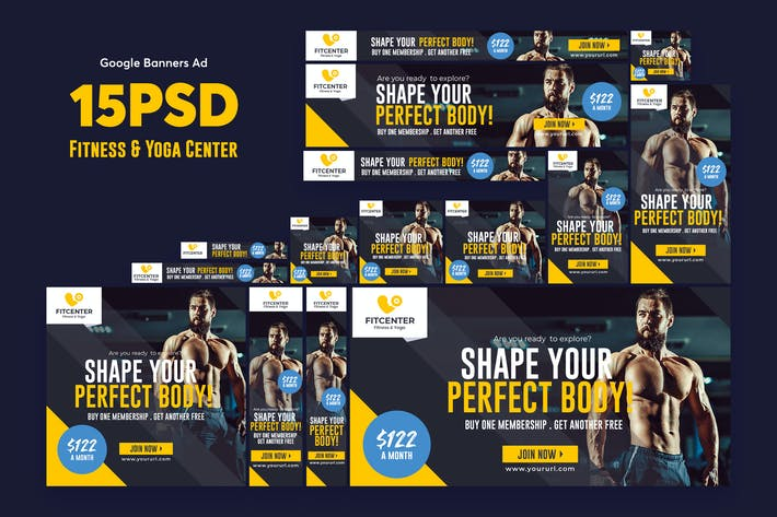 Thumbnail for Fitness & Yoga Center Banners Ad