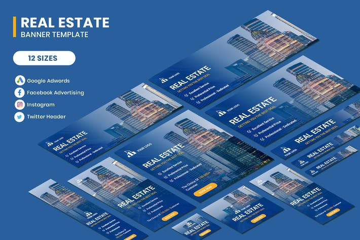 Cover Image For Real Estate Google Adwords Banner Template