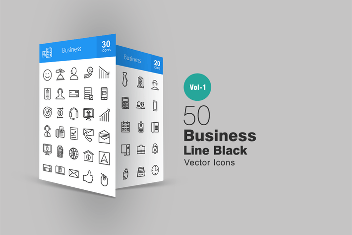 Thumbnail for 50 Business Line Icons