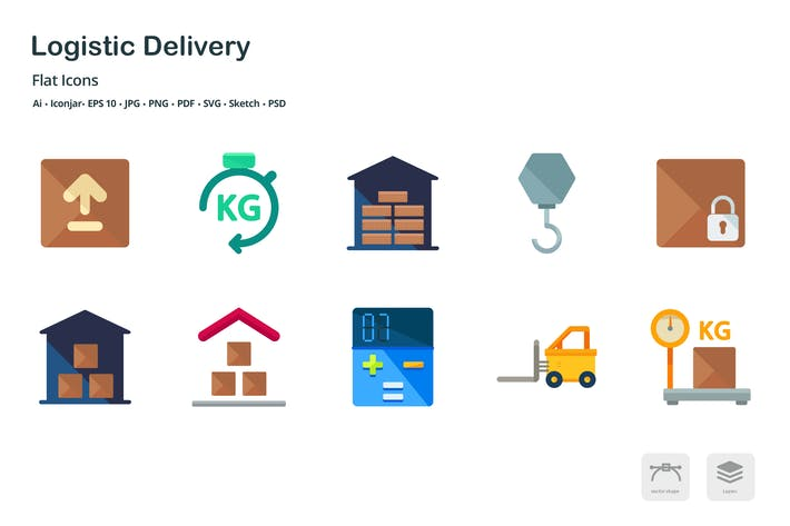 Thumbnail for Logistic Delivery Flat Colored Icons
