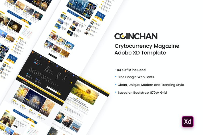 Thumbnail for Crytocurrency Magazine Adobe XD Template
