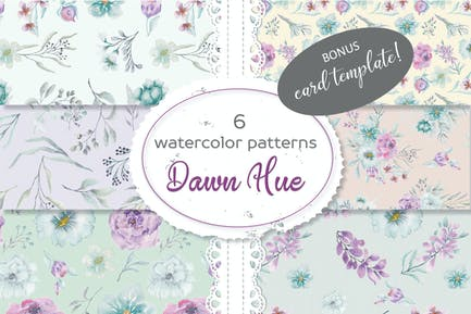 Set of 6 Watercolor Patterns: Dawn Hue