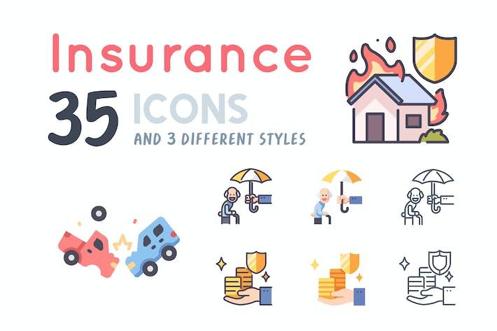 35 Insurance icon set