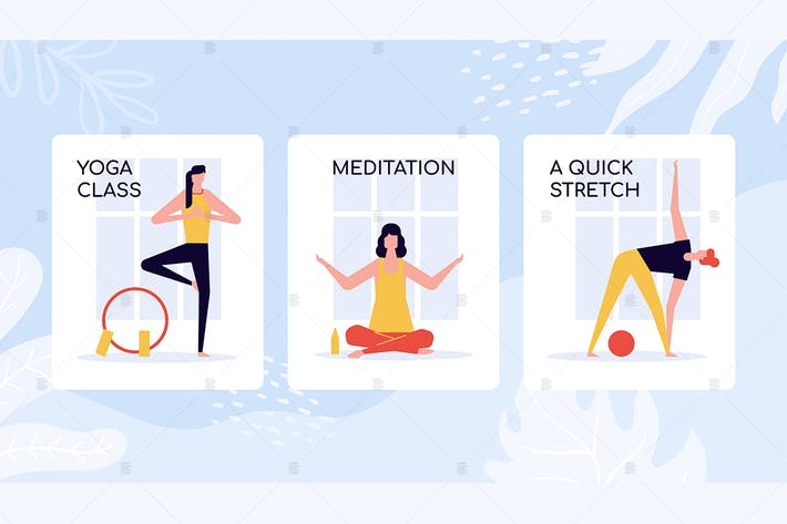 Thumbnail for Yoga class training colorful banners