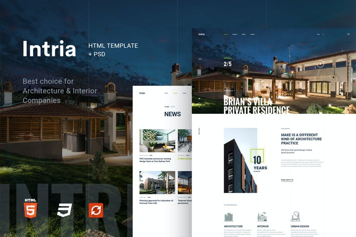 Cover Image For Intria - Architecture and Interior HTML Template