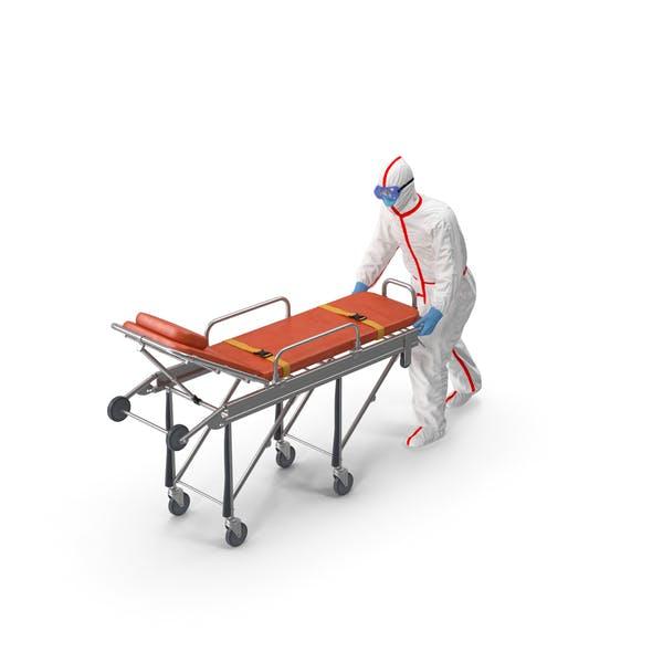 Chemikalienschutzanzug mit Krankenwagen Krankenhausbett Gurney