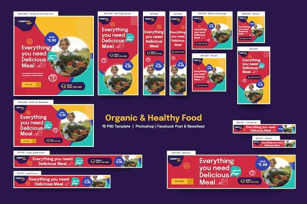 Organic & Healthy Food Banners Ad