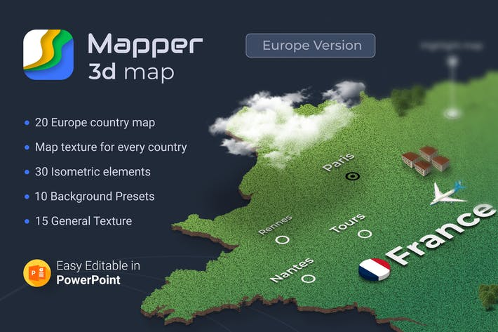 Thumbnail for Mapper – Isometric Maps for PowerPoint