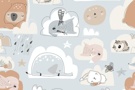 Vector seamless pattern with cute cartoon animals