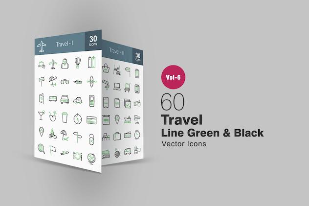 60 Travel Green & Black Line Icons