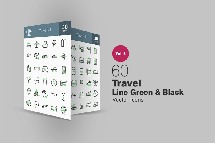 Thumbnail for 60 Travel Green & Black Line Icons