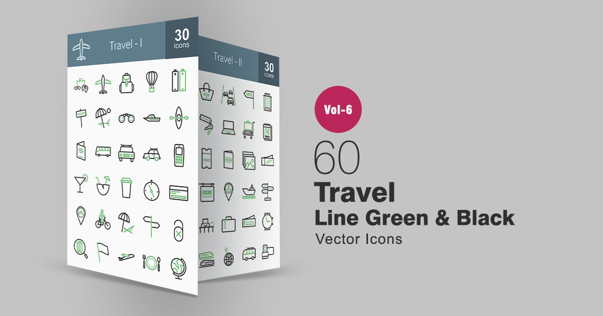 Download 60 Travel Green & Black Line Icons by IconBunny