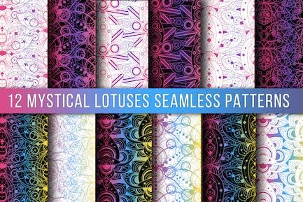 Colored Lotus Seamless Patterns Set