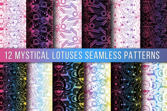 Thumbnail for Colored Lotus Seamless Patterns Set