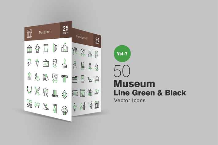 Thumbnail for 50 Museum Green & Black Line Icons