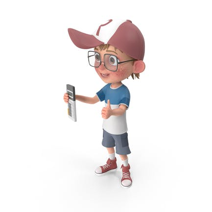 Cartoon Boy with Calculator