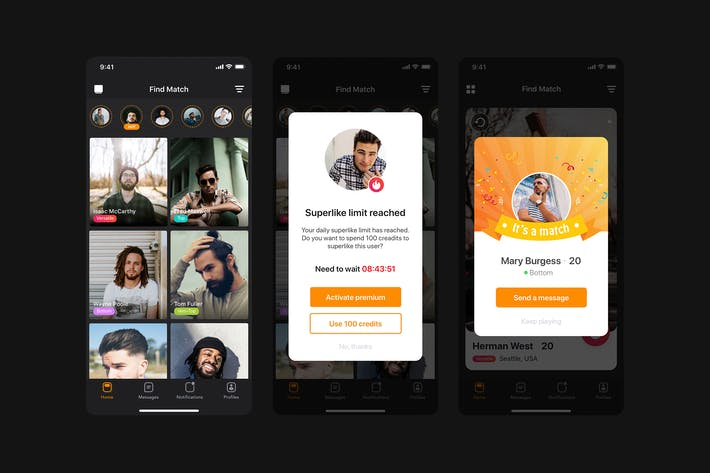 Thumbnail for Find match - Grid view for Dating app