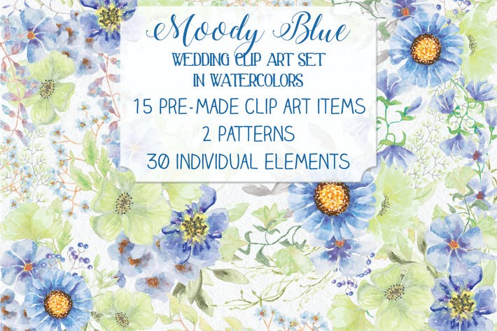 "Thumbnail for ""Moody Blue"" Watercolor Bundle"