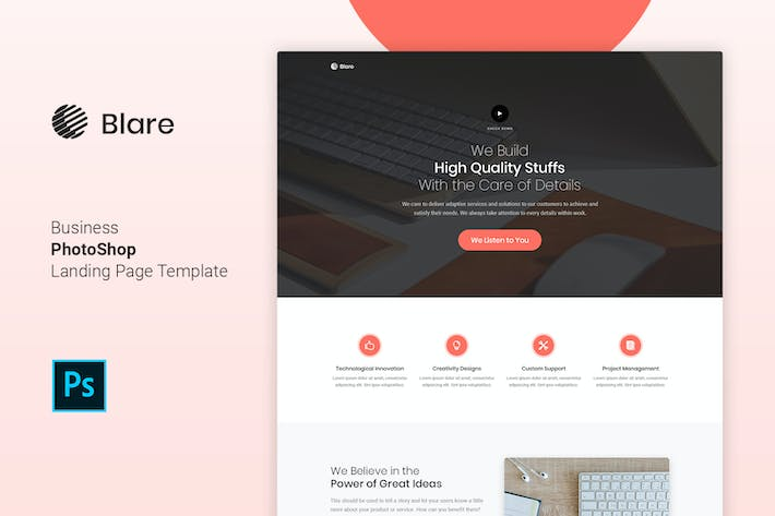 Thumbnail for Blare - Business PSD Landing Page Template