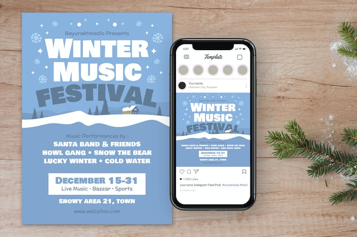 Thumbnail for Winter Christmas Music Flyer