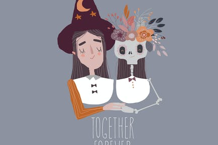 Halloween Witch with Cute Skeleton wearing Flower