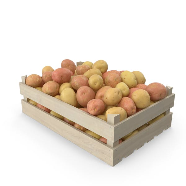 Potatoes Mix in Wooden Crate