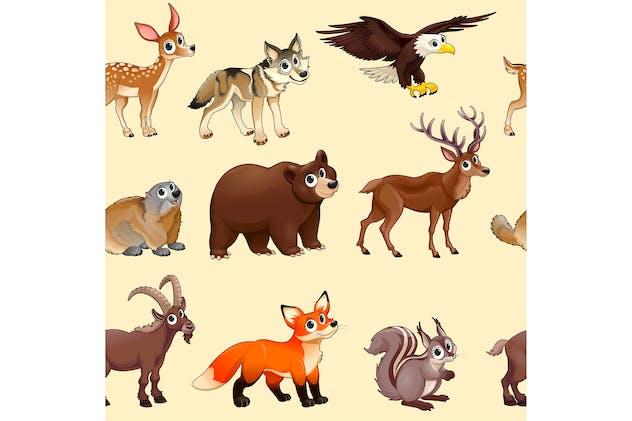 Cartoon Mountain Animals Pattern