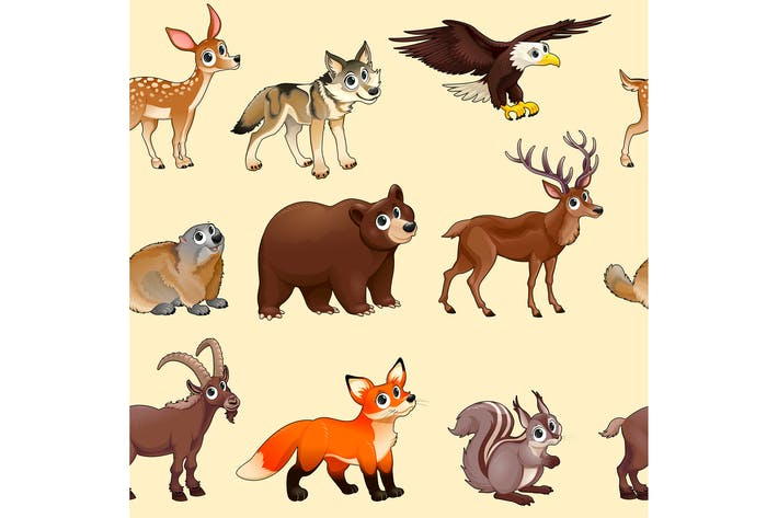Thumbnail for Cartoon Mountain Animals Pattern