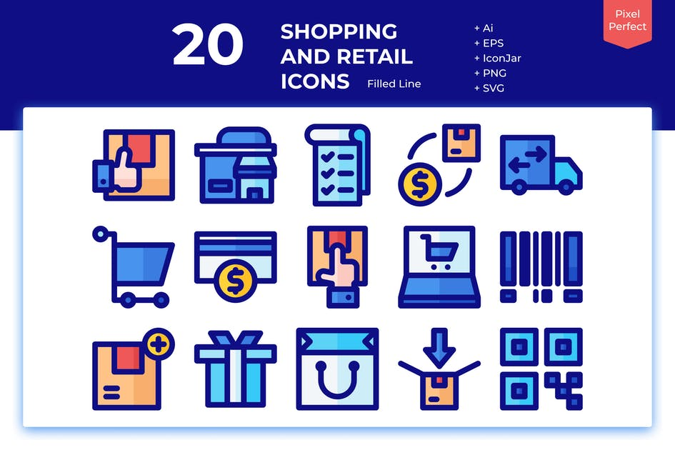 Download 20 Shopping and Retail Icons (Filled Line) by inipagi