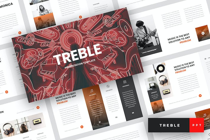Cover Image For Treble - Music PowerPoint Template
