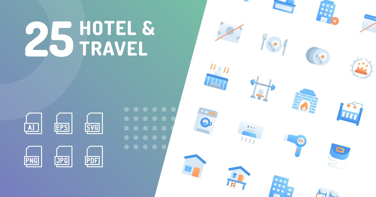 Download Hotel & Travel Flat Icons by kerismaker