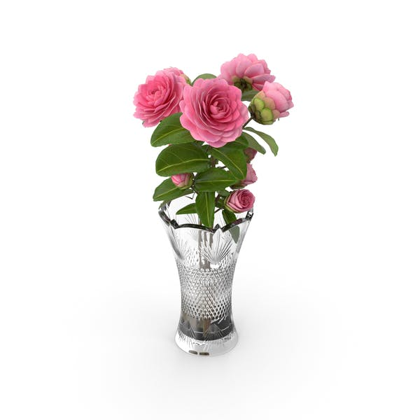 Camellia Bouquet Pink in Vase