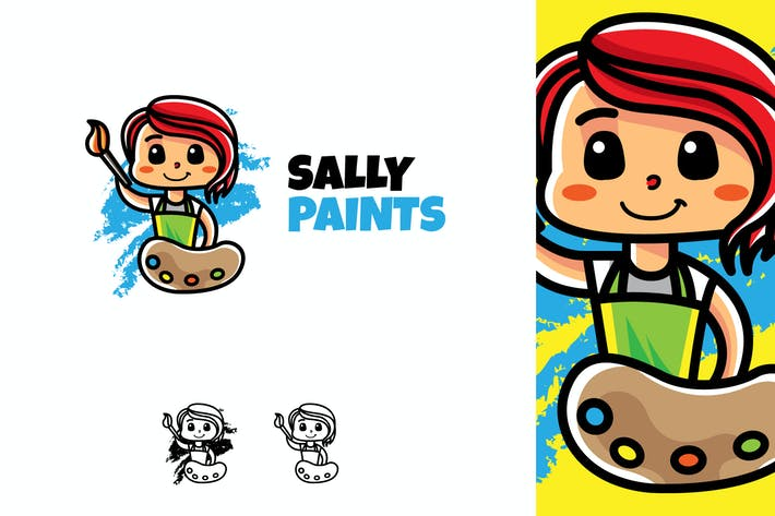 Thumbnail for Sally Paints - Mascot & Esport Logo