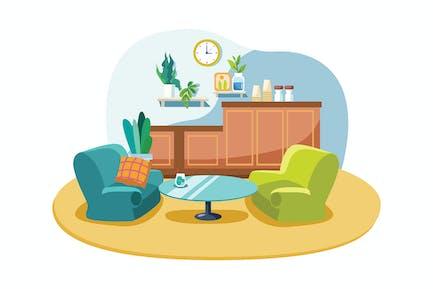 Empty cafe interior illustration concept.