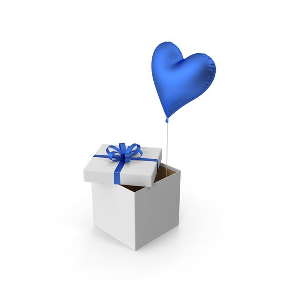 Blue Heart Balloon Gift Box