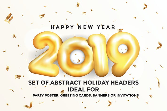 Thumbnail for Happy New Year 2019 Golden Greeting Cards
