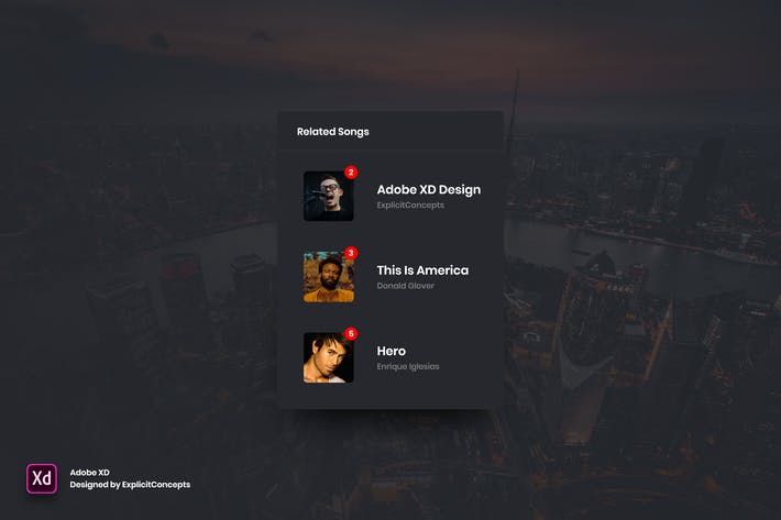 Thumbnail for Related Songs Widget - Adobe XD