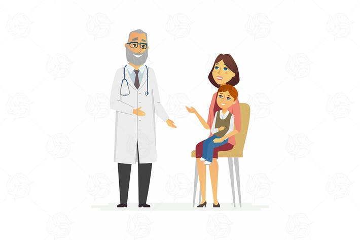 Thumbnail for Mother with son at doctors - vector illustration