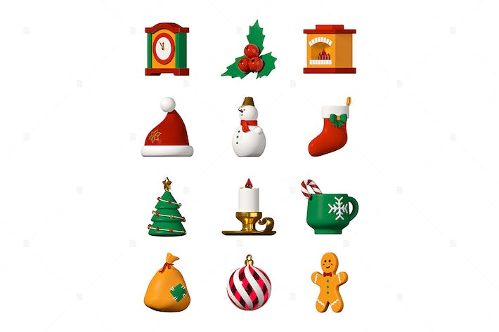 Thumbnail for Winter holiday symbols - modern colorful 3d icons