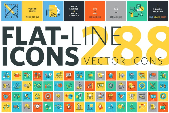 Cover Image For Set of Flat Line Icons