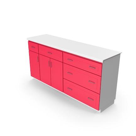 Кухонный шкаф Красный Белый