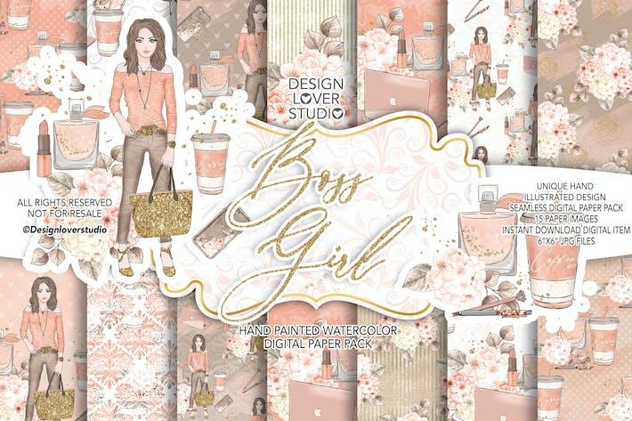 Thumbnail for Boss Girl hydrangea digital paper pack