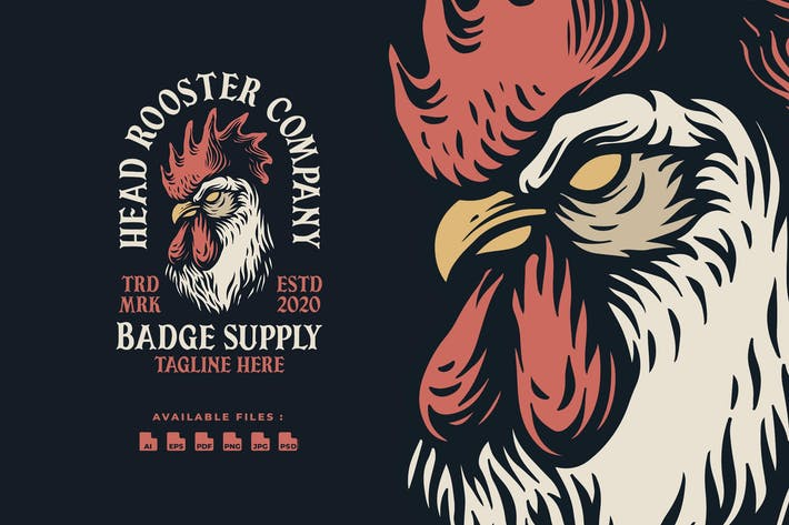 Thumbnail for Head Rooster Hand drawn Logo