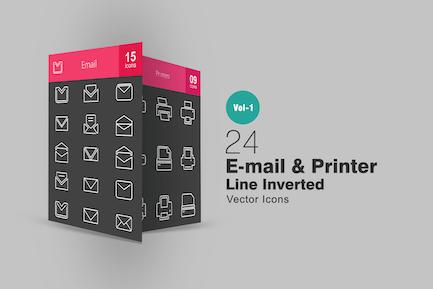 24 Íconos invertidos de línea de impresora e Correo electrónico